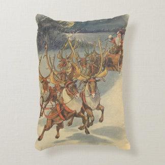 Vintage Christmas Santa Claus Sleigh with Reindeer Decorative Pillow