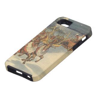 Vintage Christmas Santa Claus Sleigh with Reindeer iPhone 5 Case