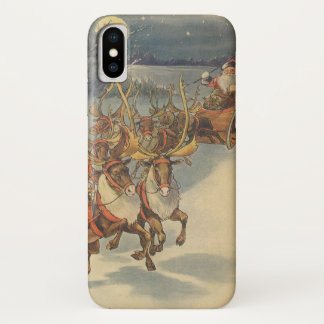 Vintage Christmas Santa Claus Sleigh with Reindeer iPhone X Case