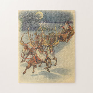 Vintage Christmas Santa Claus Sleigh with Reindeer Jigsaw Puzzle