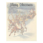 Vintage Christmas Santa Claus Sleigh with Reindeer Letterhead
