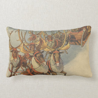 Vintage Christmas Santa Claus Sleigh with Reindeer Lumbar Pillow
