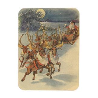 Vintage Christmas Santa Claus Sleigh with Reindeer Magnet