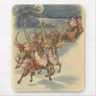 Vintage Christmas Santa Claus Sleigh with Reindeer Mouse Pad