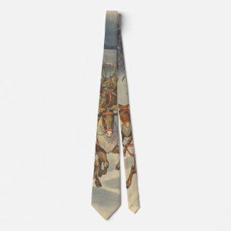Vintage Christmas Santa Claus Sleigh with Reindeer Neck Tie