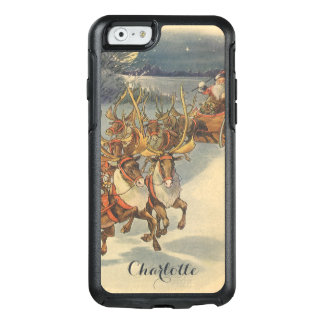 Vintage Christmas Santa Claus Sleigh with Reindeer OtterBox iPhone 6/6s Case