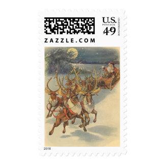 Vintage Christmas Santa Claus Sleigh with Reindeer Postage