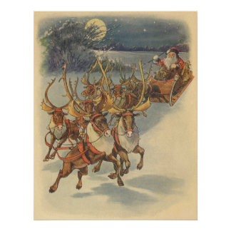 Vintage Christmas Santa Claus Sleigh with Reindeer Poster