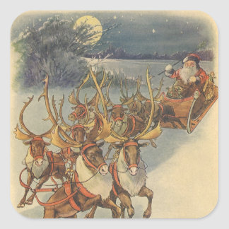 Vintage Christmas Santa Claus Sleigh with Reindeer Square Sticker