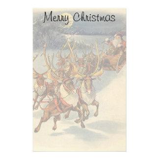 Vintage Christmas Santa Claus Sleigh with Reindeer Stationery