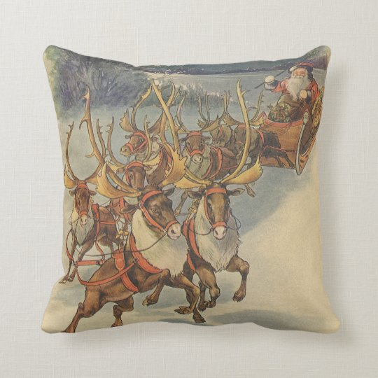 Vintage Christmas Santa Claus Sleigh with Reindeer Throw Pillow