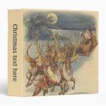 Vintage Christmas Santa Claus Sleigh with Reindeer Vinyl Binders