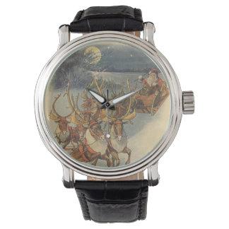Vintage Christmas Santa Claus Sleigh with Reindeer Wrist Watch