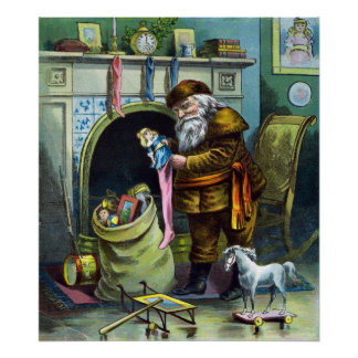 Vintage Christmas, Santa Claus Stockings Fireplace Print