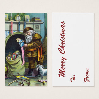 Vintage Christmas, Santa Claus Stockings with Toys Business Card