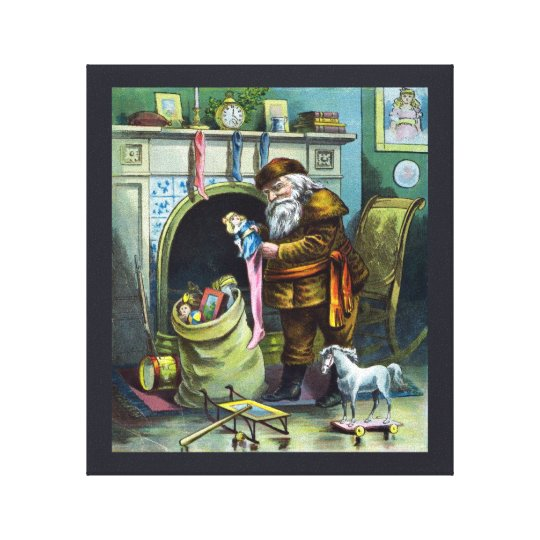 Vintage Christmas, Santa Claus Stockings with Toys Canvas Print