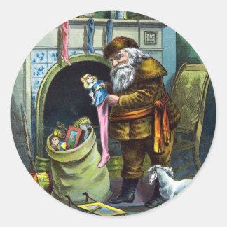 Vintage Christmas, Santa Claus Stockings with Toys Classic Round Sticker