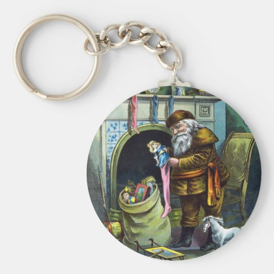 Vintage Christmas, Santa Claus Stockings with Toys Keychain