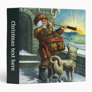 Vintage Christmas Santa Claus Telescope Dog Sunset Vinyl Binder