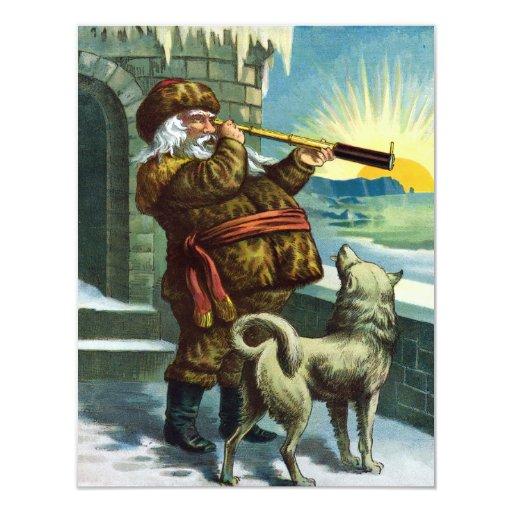 Vintage Christmas Santa Claus Telescope Dog Sunset Card