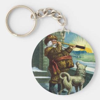 Vintage Christmas Santa Claus Telescope Dog Sunset Keychains