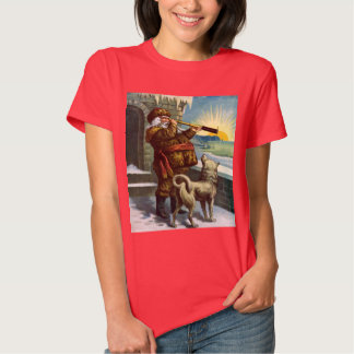 Vintage Christmas Santa Claus Telescope Dog Sunset T-Shirt