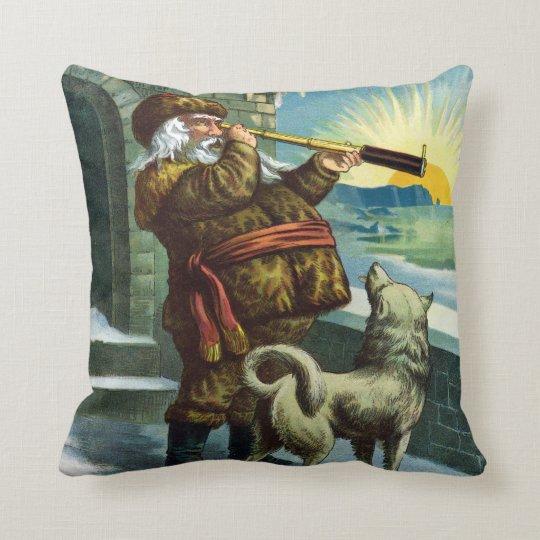 Vintage Christmas Santa Claus Telescope Dog Sunset Throw Pillow