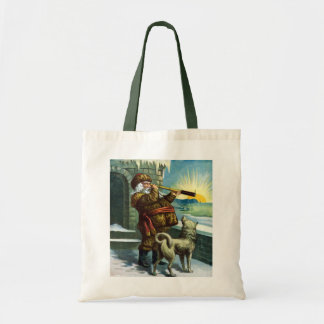 Vintage Christmas Santa Claus Telescope Dog Sunset Tote Bag