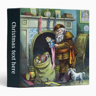 Vintage Christmas, Santa Claus Toys and Stockings 3 Ring Binder