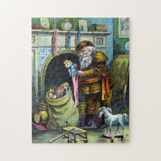 Vintage Christmas, Santa Claus Toys and Stockings Jigsaw Puzzle