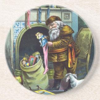 Vintage Christmas, Santa Claus Toys and Stockings Sandstone Coaster