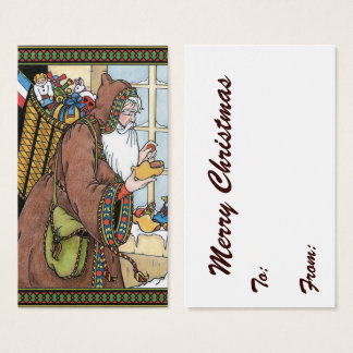 Vintage Christmas, Santa Claus Toys Clogs Shoes Business Card