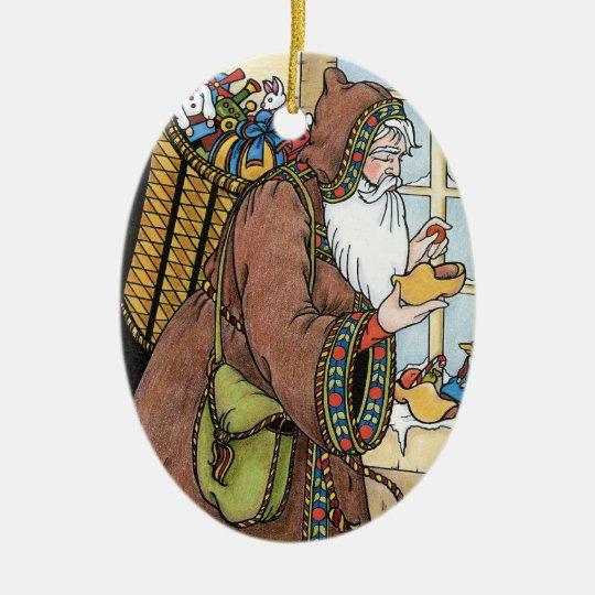 Vintage Christmas, Santa Claus Toys Clogs Shoes Ceramic Ornament