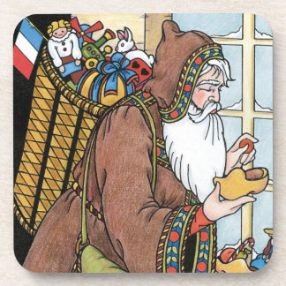 Vintage Christmas, Santa Claus Toys Clogs Shoes Coaster