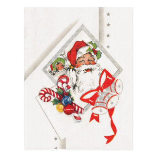 Vintage Christmas, Santa Claus with Candy Canes Postcard