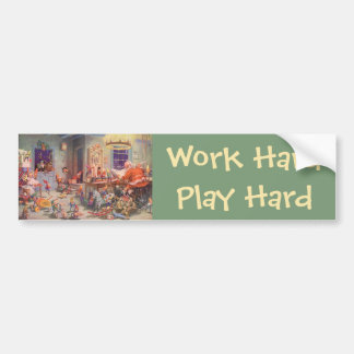 Vintage Christmas, Santa Claus with Elves Workshop Bumper Sticker