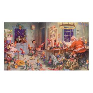 Vintage Christmas, Santa Claus with Elves Workshop Double-Sided Standard Business Cards (Pack Of 100)