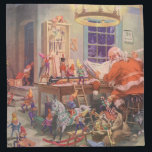 "Vintage Christmas, Santa Claus with Elves Workshop Cloth Napkin<br><div class=""desc"">Vintage illustration Merry Christmas holiday image featuring Jolly Saint Nicholas and his busy elves building toys,  dolls,  rocking horses,  etc. in Santa&#39;s workshop at the North Pole on Christmas Eve. Santa Claus is going over his naughty or nice list one more time so you better be good!</div>"