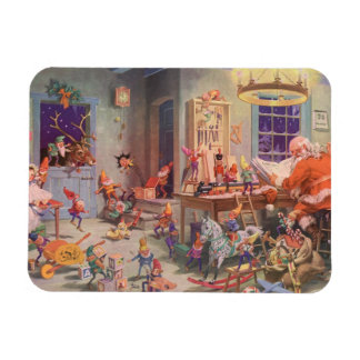 Vintage Christmas, Santa Claus with Elves Workshop Magnet