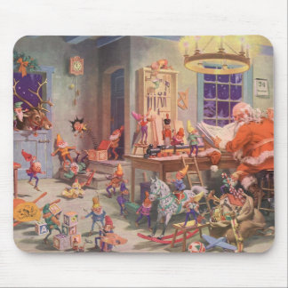 Vintage Christmas, Santa Claus with Elves Workshop Mouse Pad
