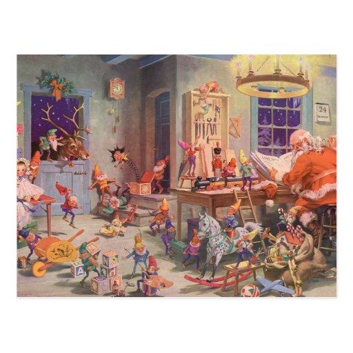 Vintage Christmas, Santa Claus with Elves Workshop Postcard