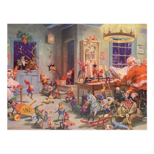 Vintage Christmas, Santa Claus with Elves Workshop Postcard