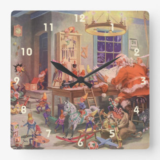 Vintage Christmas, Santa Claus with Elves Workshop Square Wall Clock