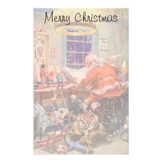 Vintage Christmas, Santa Claus with Elves Workshop Stationery