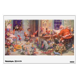 Vintage Christmas, Santa Claus with Elves Workshop Wall Sticker