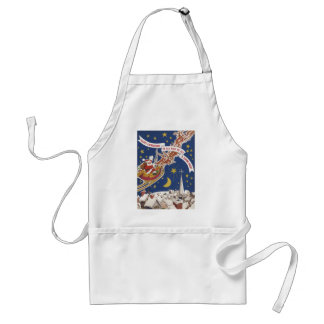 Vintage Christmas Santa Claus With Flying Reindeer Adult Apron
