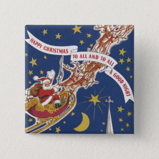 Vintage Christmas Santa Claus With Flying Reindeer Button