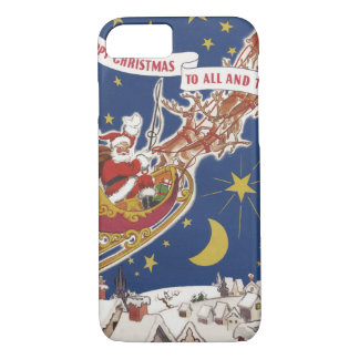 Vintage Christmas Santa Claus With Flying Reindeer iPhone 8/7 Case