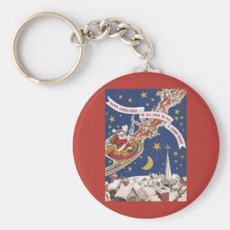 Vintage Christmas Santa Claus With Flying Reindeer Keychain