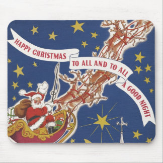 Vintage Christmas Santa Claus With Flying Reindeer Mouse Pad